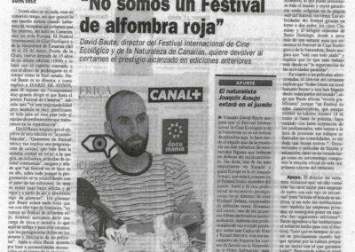 Festival Internacional de Cine Ecológico y de la Naturaleza de Canarias - Diario de Avisos - 2009